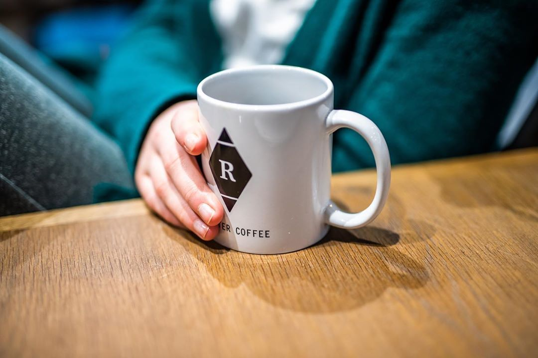Rowster Coffee Cup at Grand Rapids Coffee Shop